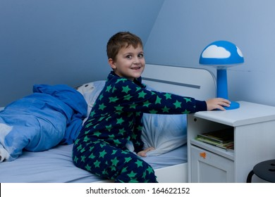cute little boy just about going to sleep
