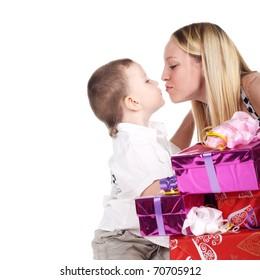 cute little boy kissing young pretty blond girl