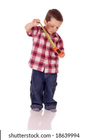Cute little boy with a measuring tape