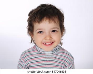 cute little boy on white