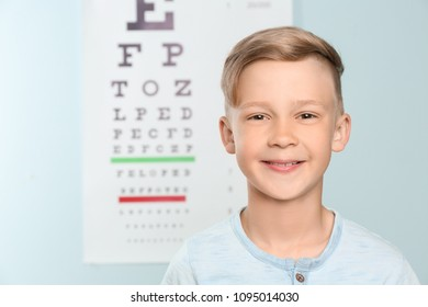 Cute little boy in ophthalmologist office