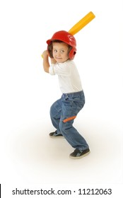 Cute little boy playing baseball, laughing and having fun