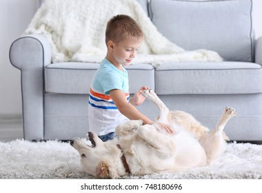 Cute little boy playing with dog at home
