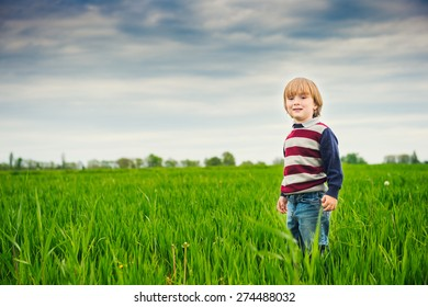 Cute little boy playing in the green field on a cloudy day, wearing pullover, toned image