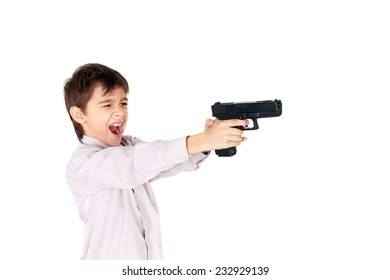 cute little boy playing with the pistol