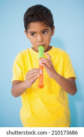 Cute little boy playing the recorder in classroom at the nursery school