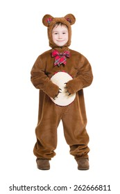 Cute little boy posing in a bear costume. Isolated on white