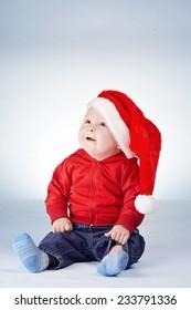 cute little boy with santa hat portrait
