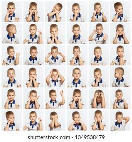 Cute little boy, a set of different emotional portraits. Close-up. Square.