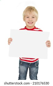 Cute little boy showing white page on white background