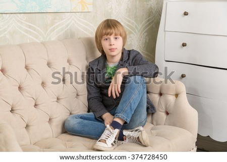 Cute boys sitting on the couch