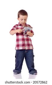 Cute little boy with a stapler