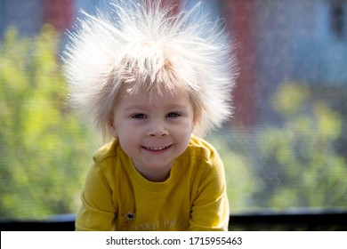 Cute little boy with static electricy hair, having his funny portrait taken outdoors on a trampoline