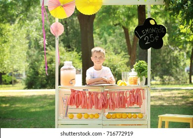 Cute little boy waiting for customers at lemonade stand in park