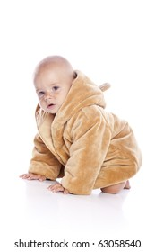 Cute little boy with a warm coat on white background