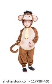 Cute little boy wearing like monkey. Isolated on white