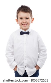 Cute little boy with white shirt and bow tie, isolated on white. Elegant little gentleman