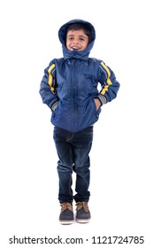 Cute little boy in a winter coat isolated on a white background