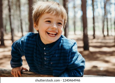 Cute little boy in the woods smiling