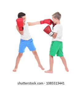 Cute little boys boxing on white background