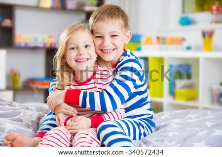 Cute Little Brother Sister Pajamas Home Stock Photo Edit Now