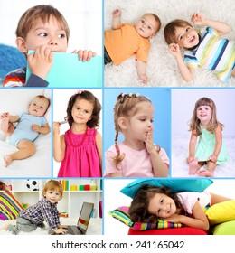 Cute little children collage