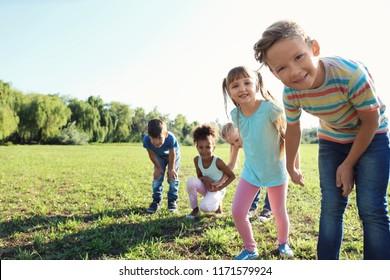 Cute little children outdoors on summer day