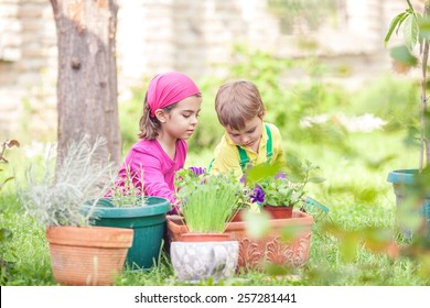 Cute little gardeners planting flowers in front or back yard