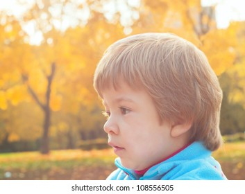 Cute little girl against autumn background