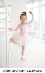 Cute little girl ballerina. Child girl in a pink tutu dancing in a room. preteen girl studying dancing ballet