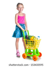 cute little  girl with a basket of products from the supermarket isolated on a white background