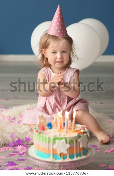 Sensational Cute Little Girl Birthday Cake Sitting Stock Photo Edit Now Funny Birthday Cards Online Overcheapnameinfo