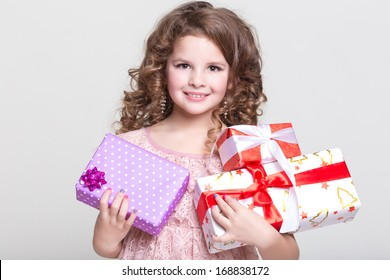 Cute Little Girl With Birthday Gift Box Happy Child Gifts Glamour Baby
