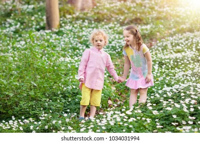 Cute little girl and boy playing in blooming spring park with first white wild anemone flowers. Children on Easter egg hunt in blooming garden. Kids play outdoor picking flower bouquet.