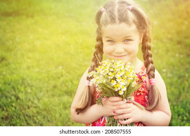 Cute little girl with braids holding chamomile bouquet. Adorable blonde little girl with long hair and braids holding flowers smiling looking at camera.