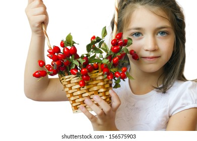 Cute little girl child with basket full of rose-ship