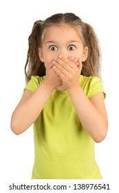 Cute Little Girl Covering Her Mouth Showing Intense Expression of Fear and Terror, Isolated