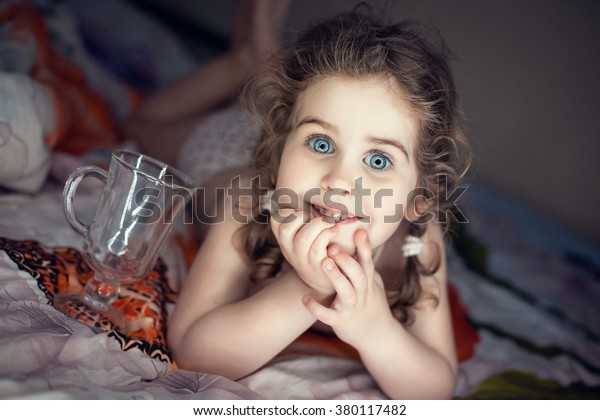Cute Little Girl Curly Hair Big Stock Photo Edit Now 380117482