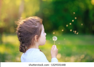 Cute little girl with dandelion flower is smiling in spring park. Happy cute kid having fun outdoors at sunset.