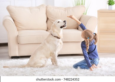 Cute little girl with dog at home