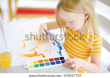 Home office colorful girl Outings W47 Cute Little Girl Drawing With Colorful Paints At Daycare Creative Kid Painting At School Shutterstock Cute Little Girl Drawing Colorful Paints Stock Photo edit Now