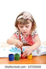 Cute Little Girl Drawing Isolated on the white background