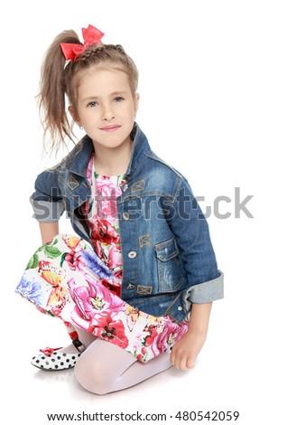 e5446b1eeae Cute Little Girl Dress Denim Jacket Stock Photo (Edit Now) 480542059 ...