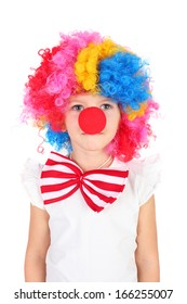 cute little girl dressed as a clown