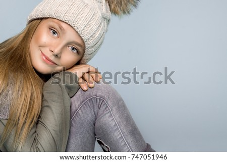 552d8499dc78 Cute Little Girl Dressed Winter Clotheshat Stock Photo (Edit Now ...