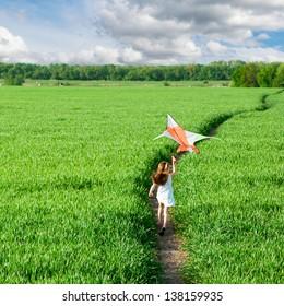 cute little girl flies a kite on grass in summer day