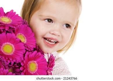 cute little girl with flowers, a gift for mothers day or valentine