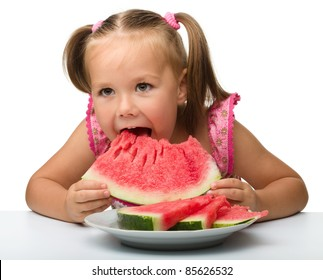 Cute little girl is going to eat watermelon, isolated over white