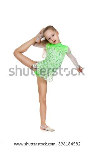 5b70f2ff7 Cute Little Girl Gymnast Highly Raised Stock Photo (Edit Now ...