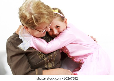 Cute little girl happy with grandmother